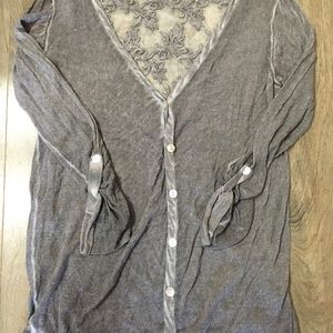 Lace Adorned Button up Cardigan
